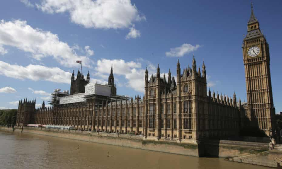 Scaffoldings covers the top of the Palace of Westminster.