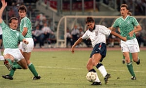 Gary Lineker scores against West Germany in the 1990 World Cup semi-final. 'I didn't realise we were that good. We were the better side,' he says.