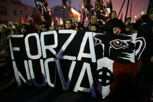 Supporters of Italian far-right party Forza Nuova take part in a march in Warsaw marking the 100th anniversary of Polish independence.