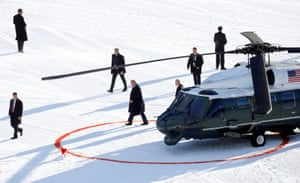 Davos, Switzerland US President Trump walks arrives in the Marine One helicopter for the 50th World Economic Forum