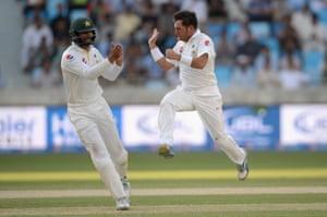 Yasir Shah of Pakistan celebrates dismissing England captain Alastair Cook.