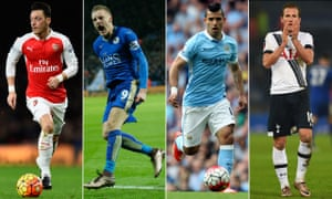 Mesut Ozil, Jamie Vardy, Sergio Aguero and Harry Kane