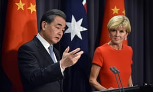 Chinese foreign minister Wang Yi with his Australian counterpartJulie Bishop at Parliament House in Canberra on Tuesday