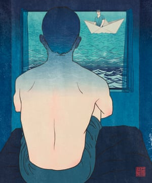 Illustration by Royal College of Art visual communication student Jason Chuang, of a man looking out of a window at someone in a paper boat on blue waves