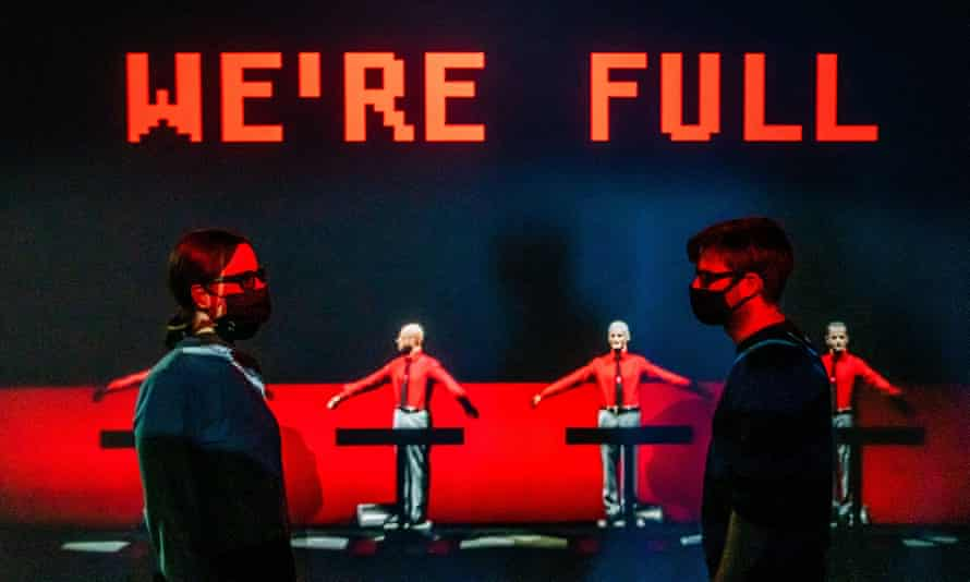 An exhibit on Kraftwerk in Electronic: From Kraftwerk to the Chemical Brothers at the Design Museum, London.