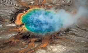 The Grand Prismatic hot spring at Yellowstone, where the four friends who market themselves under the clothing and entertainment brand High on Life went off trail.