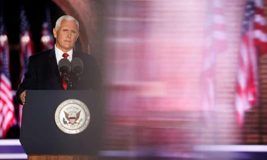 Vice-President Mike Pence speaks during an event of the 2020 Republican national convention held at Fort McHenry in Baltimore, Maryland.