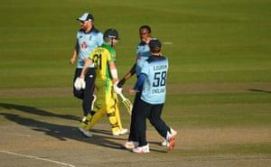 Archer celebrates the wicket of Warner.
