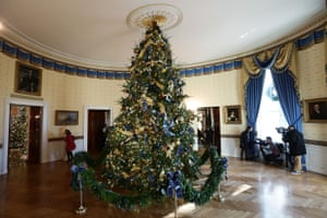 The official White House Christmas tree resides in the blue room
