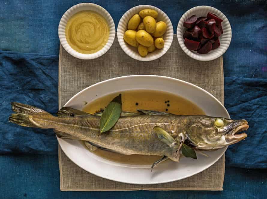 Danish New year dish of cod with mustard sauce