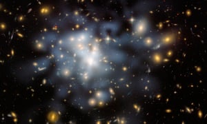 This NASA Hubble Space Telescope image shows the distribution of dark matter in the center of the giant galaxy cluster Abell<br>DARK MATTER D99AT3 This NASA Hubble Space Telescope image shows the distribution of dark matter in the center of the giant galaxy cluster Abell