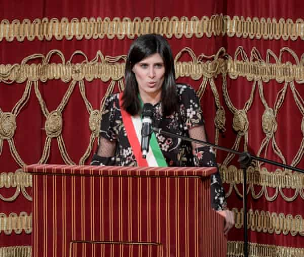 Chiara Appendino at an award ceremony at the Teatro Carignano in Turin.