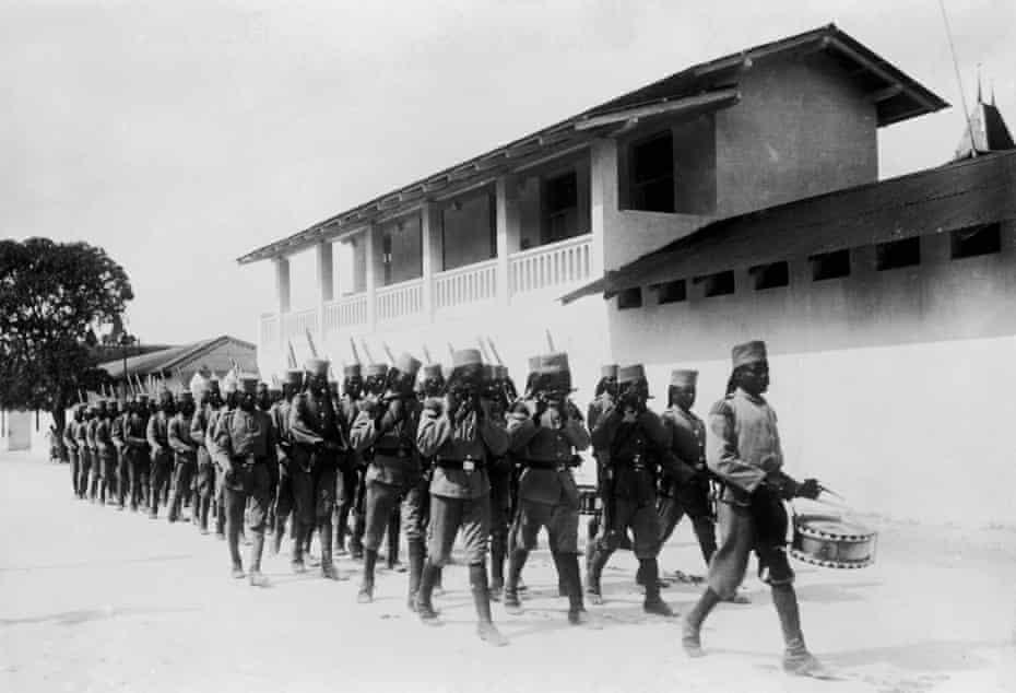 Troops under German command in Dar Es Salaam, Tanzania (then part of German East Africa), circa 1914.