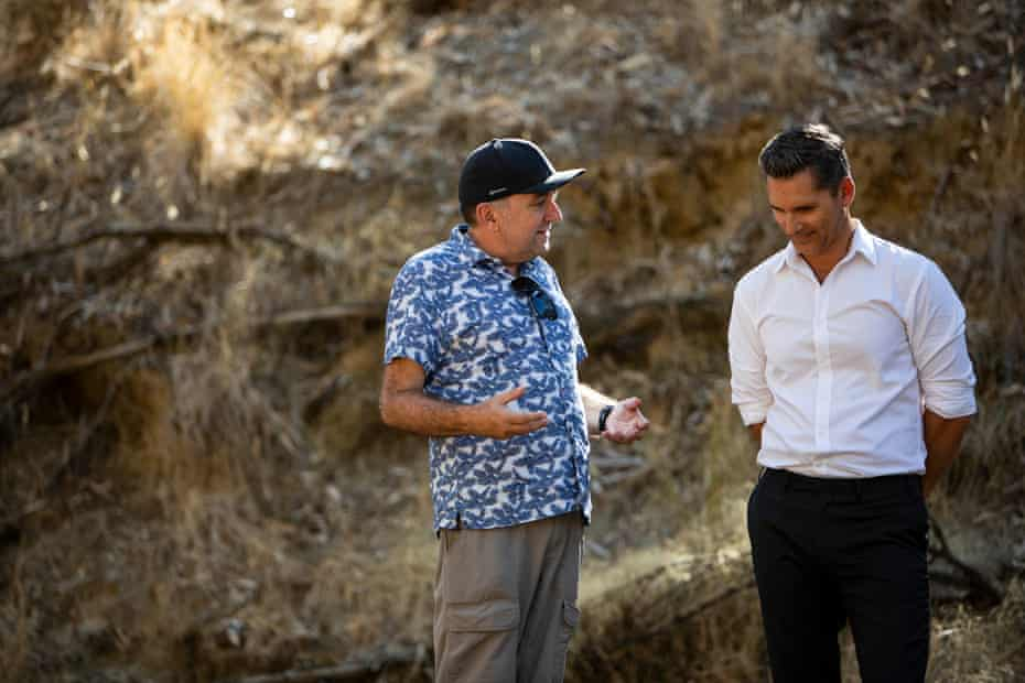 Rob Connolly and Eric Bana during. the making of The Dry.