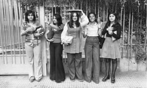 Students waiting outside a school in central Tehran in 1979