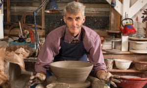 Hands of clay: Jim Ranson in the shed he built at the end of his garden in Bognor Regis. He says making pots is an 'inexhaustible well of experimentation'.
