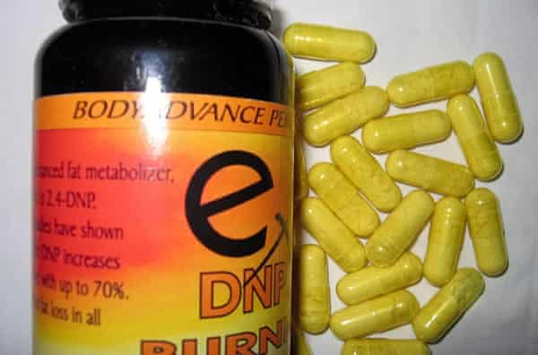 A bottle of yellow DNP pill capsules purchased online
