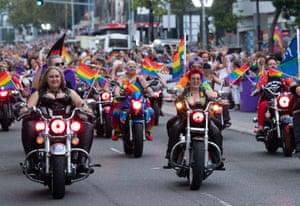 Dykes on Bikes lead the Mardi Gras parade