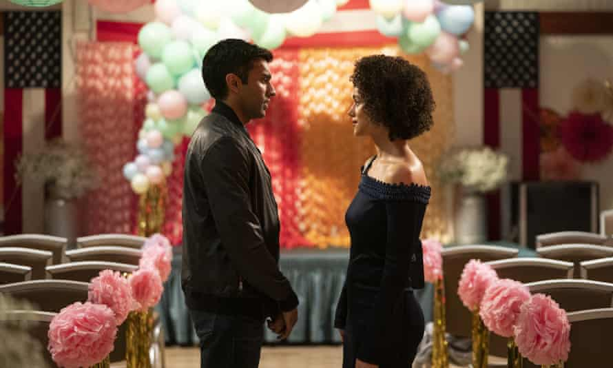 Reboot … Nikesh Patel and Nathalie Emmanuel in the TV version of Four Weddings and a Funeral.