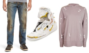 From left: PRPS jeans with 'caked-on muddy coating', $425; Maison Margiela trainers, $1,425; Topshop's 'nibbled longline hoody', was £29 now £15.
