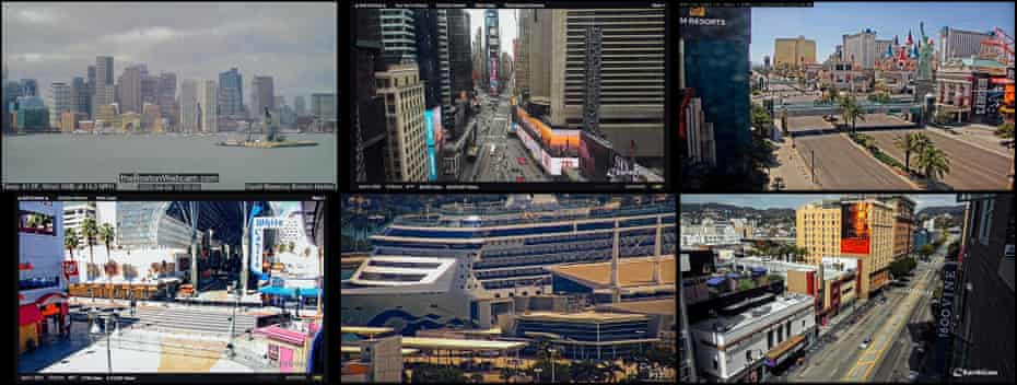 From top left to bottom right: Boston, US; Times Square, New York, US; Las Vegas, Nevada, US; Hollywood, Los Angeles, California; Coral Princess cruise ship; Miami, Florida, US