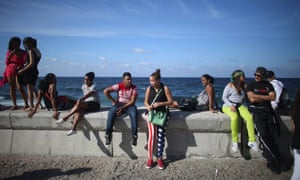 A seafront crowd watch a performance by US electronic music group Major Lazer in Havana
