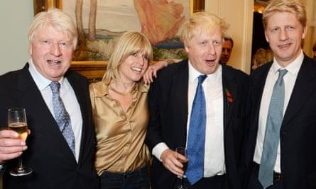 Stanley Johnson, Rachel Johnson, Boris Johnson and Jo Johnson attend the launch of Boris Johnson's book The Churchill Factor: How One Man Made History in 2014.