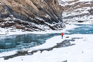 The river can change rapidly. It can be an ice blocks dotted slow moving body of water or it can be a narrow and extremely fast wild rapids. Scary in both cases, especially when you realize how thin the ice can be
