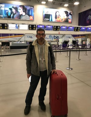 Flybe passenger Sebastien Cressent at Birmingham Airport