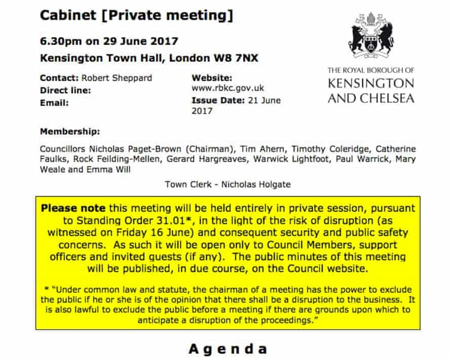 A notice of the private meeting on the Grenfell Tower fire.
