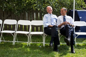 7 September: 'The president and vice-president share a laugh before a campaign rally in Portsmouth, New Hampshire'