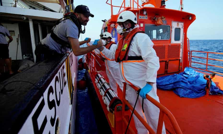 Rescue boats in the Mediterranean