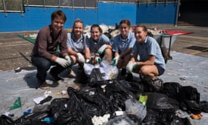 Craig Reucassel and Kiama High School students take part in a waste audit in the second season of the War on Waste.