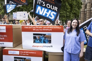 NHS workers at Westminster today where they were delivering a 800,000-name petition to Downing Street asking for a 15% pay rise.