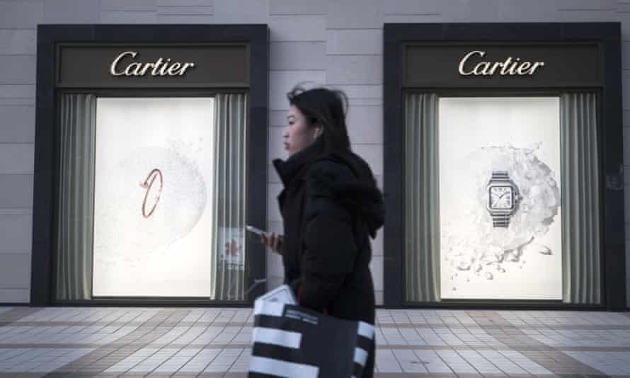 Solitary shopper outside Hermes store