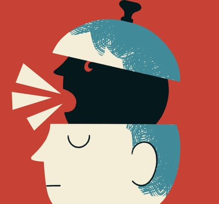 Illustration of dark thoughts of 10-year-old - head depicted as saucepan with lid lifted and black head talking