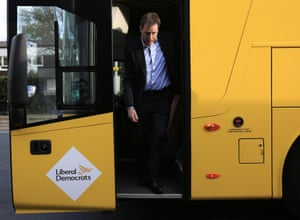 Nick Clegg emerges from the Lib Dem tour bus for a visit to Starting Point in the Woodley Precinct, Hazel Grove.