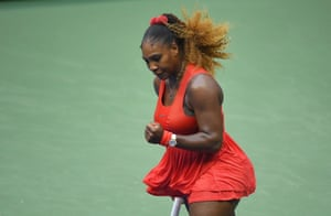 Serena Williams celebrates winning a point.