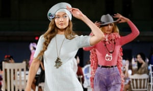 Gigi Hadid and Bella Hadid on the catwalk at the Marc Jacobs show