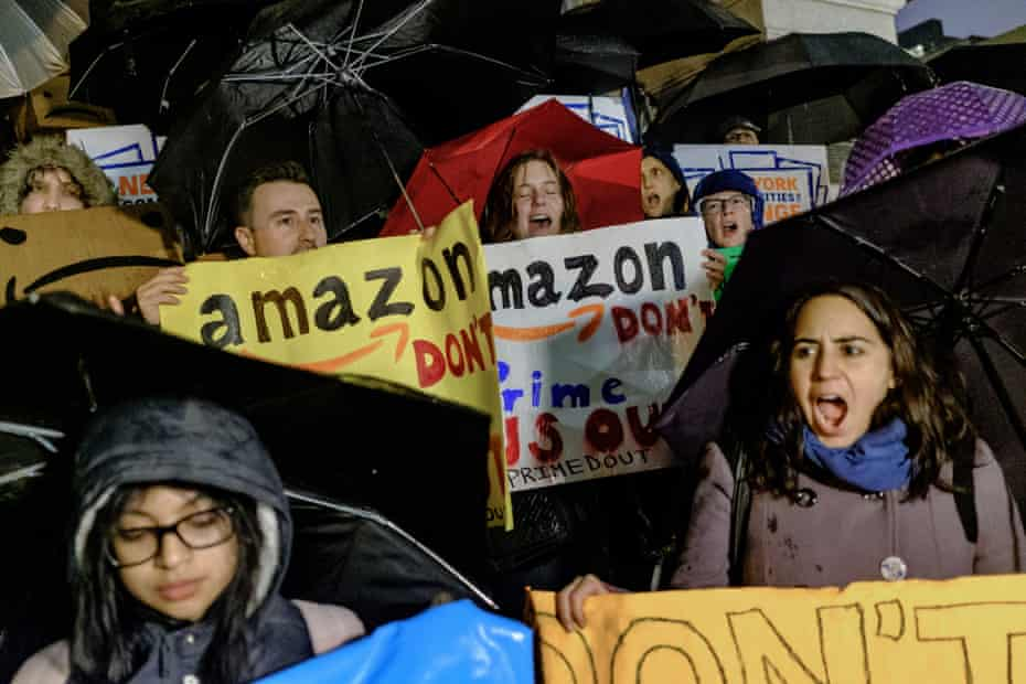 Demonstrators protest against the planned Amazon office hub in the Long Island City neighborhood in the Queens borough of New York.
