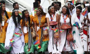Dancers welcome Eritrea's leader, Isaias Afwerki, to Addis Ababa.