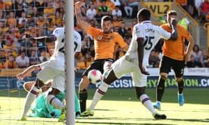 Wolverhampton Wanderers' Patrick Cutrone scores their second goal.