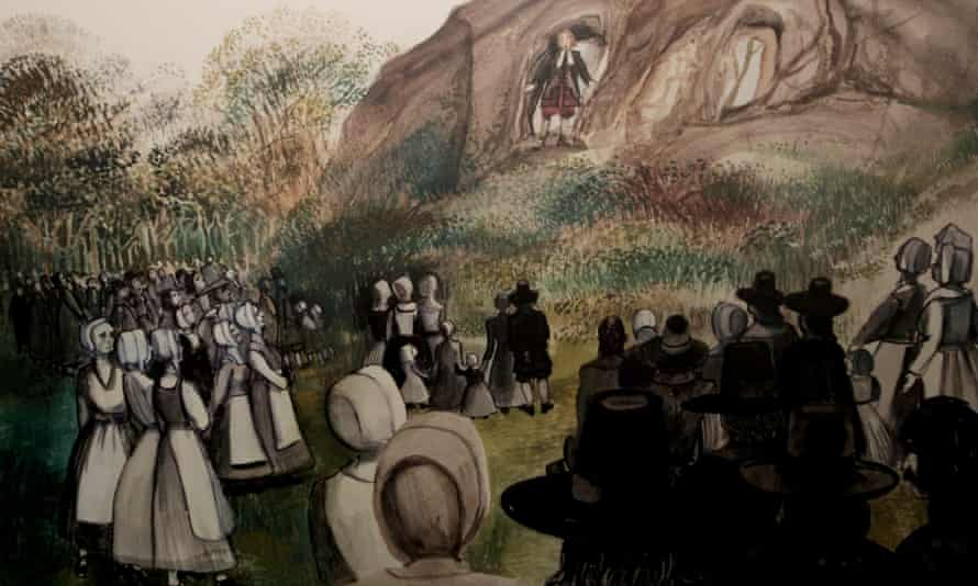 An outdoor church service at Eyam in 1666, from a display in the local museum.