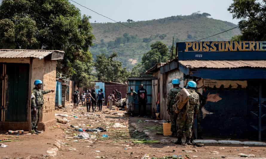 UN forces patrol Bangui, where peacekeepers and government forces have clashed with armed groups.