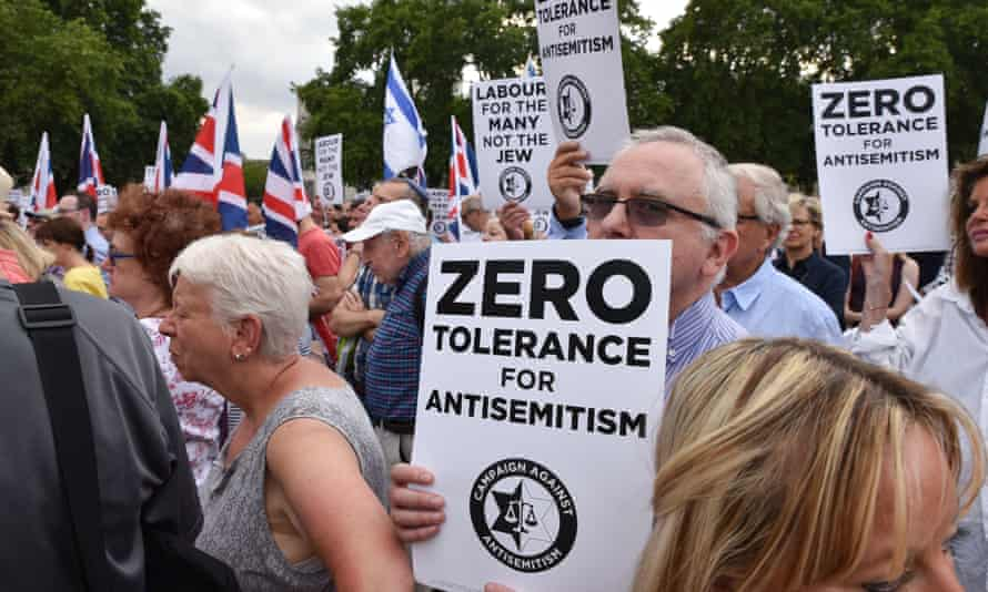 A protest against antisemitism in London in 2018.
