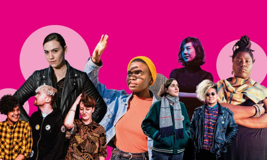 New school of indie … from left, Rachel Aggs and Shopping; Nadine Shah; Vagabon; Sacred Paws; Japanese Breakfast and Mal Devisa.
