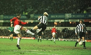 Eric Cantona scores the winning goal for Manchester United in a match largely dominated by Newcastle.