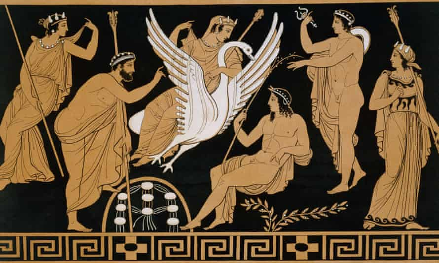 19th Century Greek Vase Illustration of Zeus Abducting Leda in the form of a Swan1813-1824 --- 19th Century Greek Vase Illustration of Zeus Abducting Leda in the form of a Swan --- Image by Stapleton Collection/Corbis