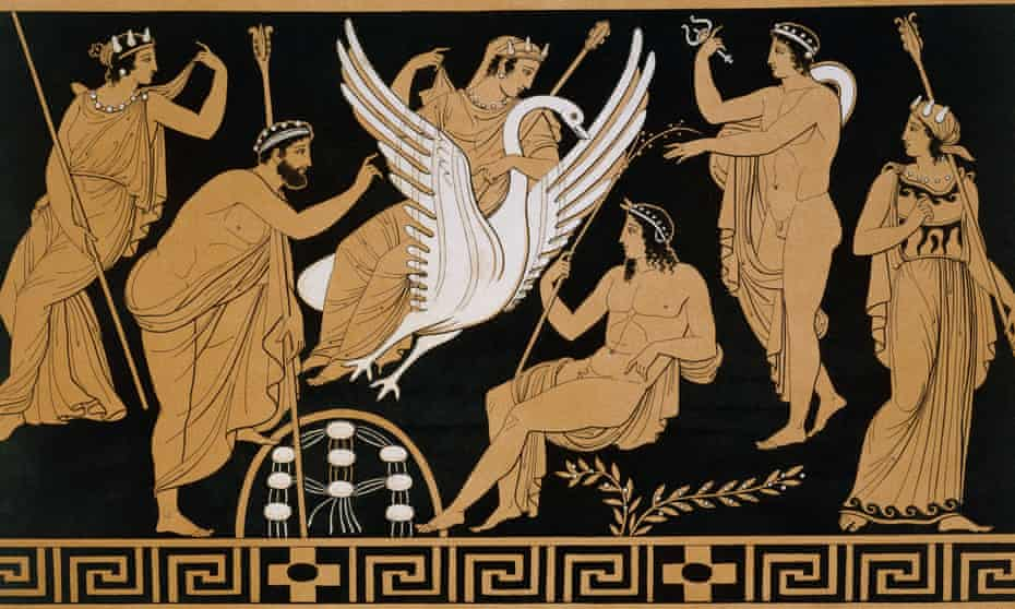 King of the swingers ... a 19th-century Greek vase illustration of Zeus abducting Leda in the form of a Swan.