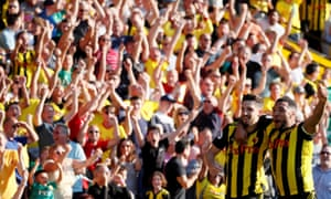 Craig Cathcart, left, and Troy Deeney celebrate Watford's winning goal against Tottenham. Javi Gracia's men have triumphed in all four of their games so far this season